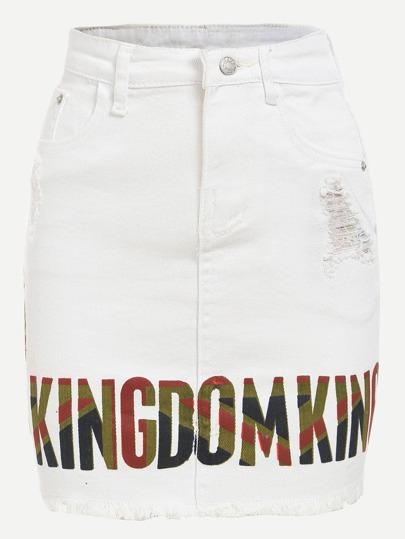 White Letter Print Frayed Denim Pencil Skirt