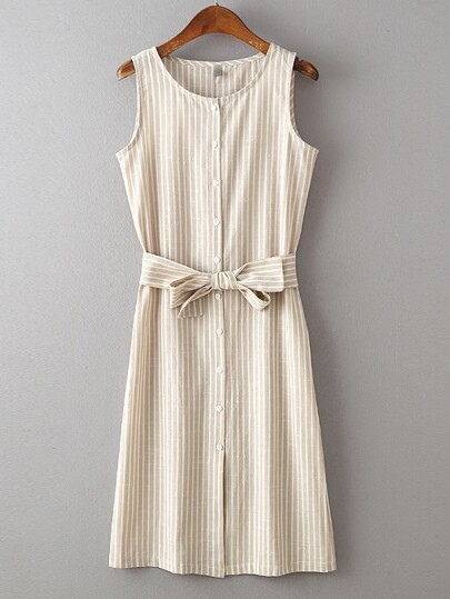 Beige Sleeveless Stripe Buttons Dress With Belt