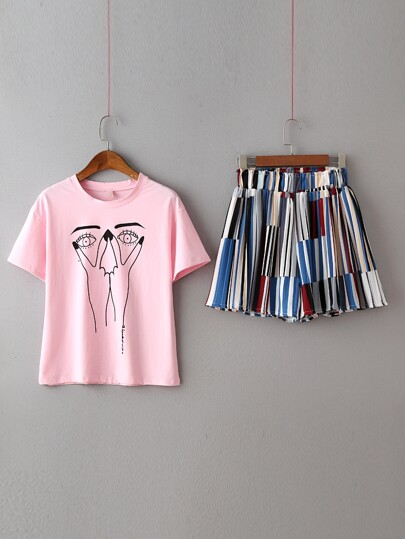 Pink Printed T-shirt With Multicolor Elastic Waist Shorts