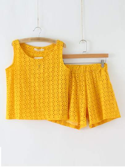 Yellow Hollow Tank Top With Elastic Waist Shorts