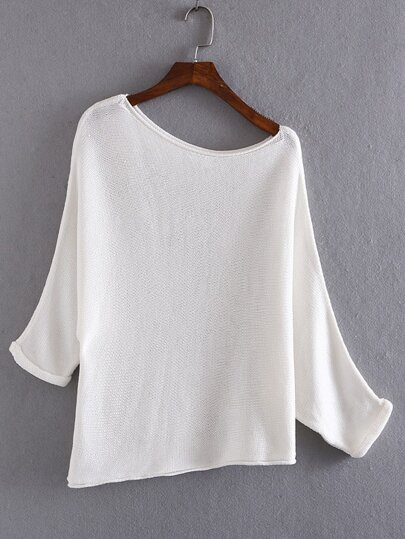 White Shoulder Drop Roll-up Cuff Knit Sweater