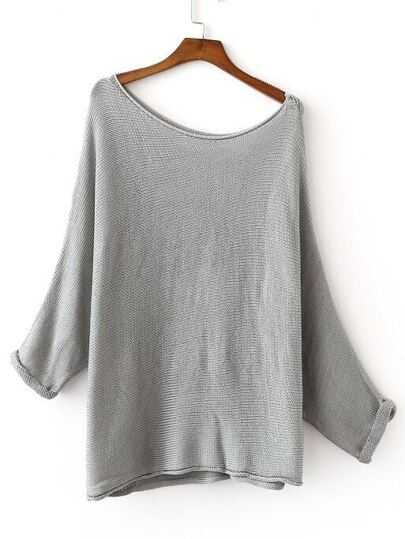 Grey Shoulder Drop Roll-up Cuff Knit Sweater