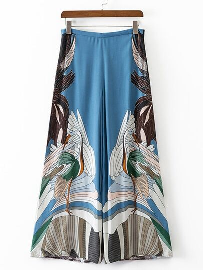 Multicolor Swan Printed Zipper Wide Leg Pants