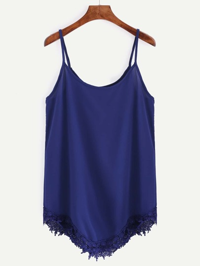 Blue Lace Trim Asymmetric Chiffon Cami Top