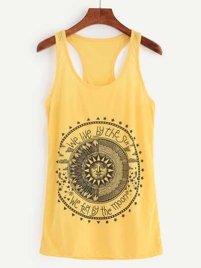 Yellow Sun Print Tank Top