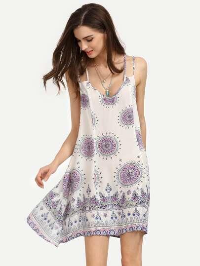 White Vintage Pattern Print Strappy Swing Cami Dress