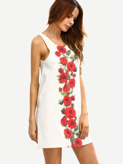 White Floral Print Sleeveless Dress