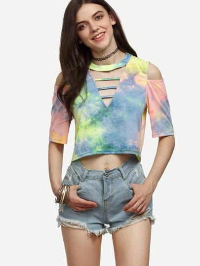 Multicolor Tie-dye Cutout Crop T-shirt