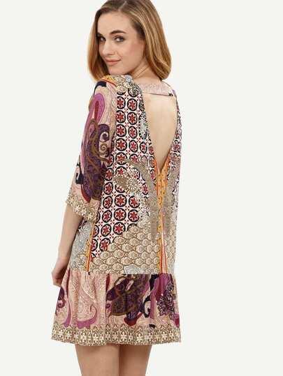 Multicolor Print V Back Shift Dress