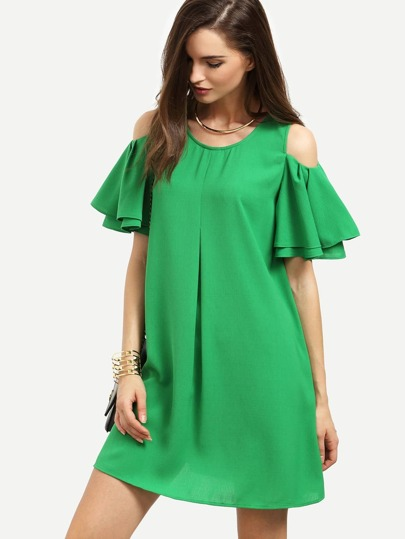 Green Cold Shoulder Ruffle Sleeve Shift Dress
