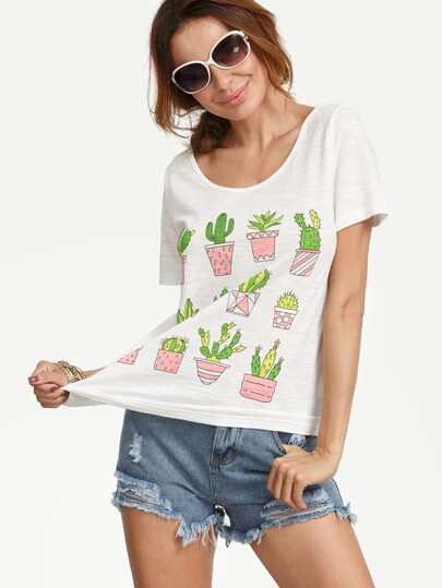 White Potted Plants Print Short Sleeve T-shirt