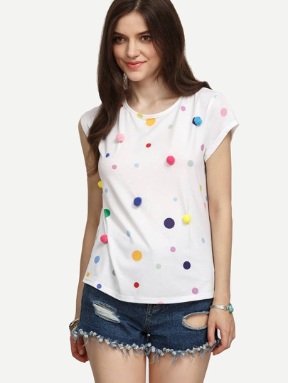 White Pom-pom Polka Dot T-shirt