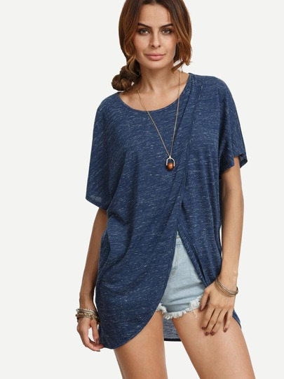 Navy Short Sleeve Wrap T-shirt