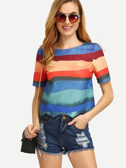 Colored Print Short Sleeve T-shirt