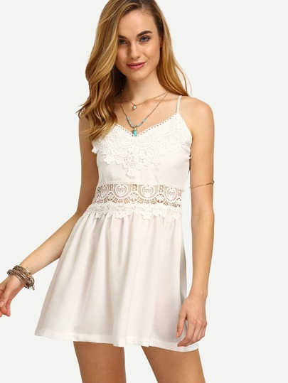 White Spaghetti Strap Crochet Panel Dress