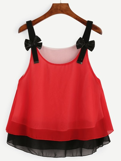 Red Bow Embellished Layered Chiffon Top