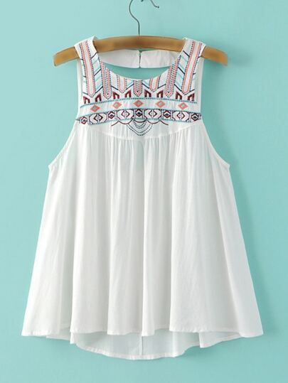 White Sleeveless Embroidery Cutout Back Blouse