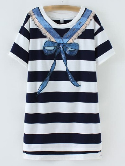 Navy Stripe Bow Sequined Front Dress