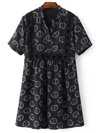 Black V Neck Printed Cutout Pleated Dress
