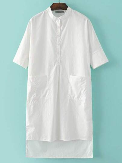 White Band Collar Buttons High Low Casual Dress