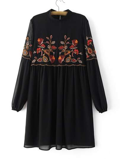 Black Stand Collar Elastic Cuff Embroidery Vintage Dress