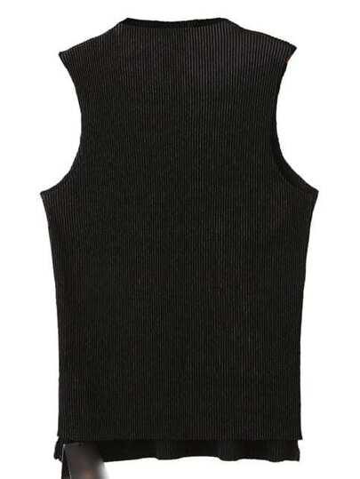 Black Sleeveless Dipped Hem Knit Tank Top