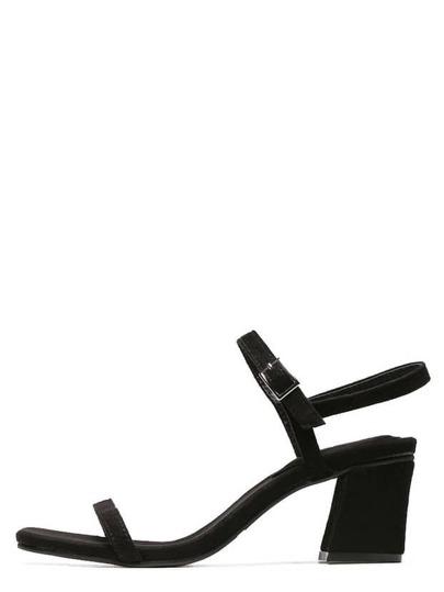 Sandalias peep toe con hebilla -negro