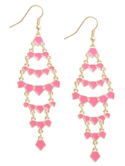Pink Leaf-shaped Drop Earrings