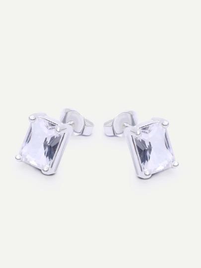 Silver Geometric Rhinestone Earrings