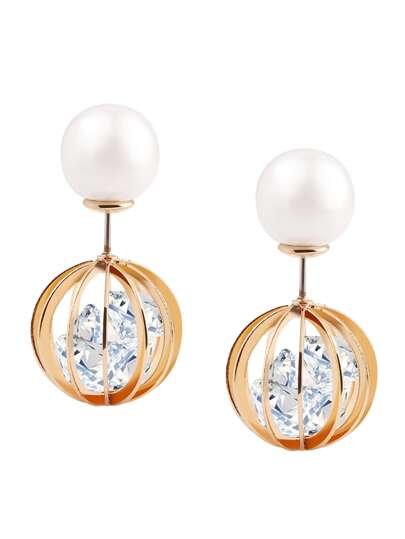 Pearl Rhinestone Hollow Globe Double Stud Earrings