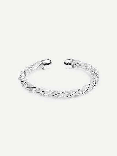 Silver Twisted Open Cuff Bracelet