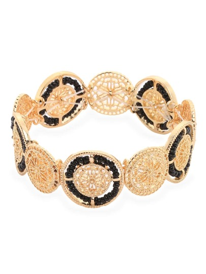 Black Beads Hollow Alloy Bracelet