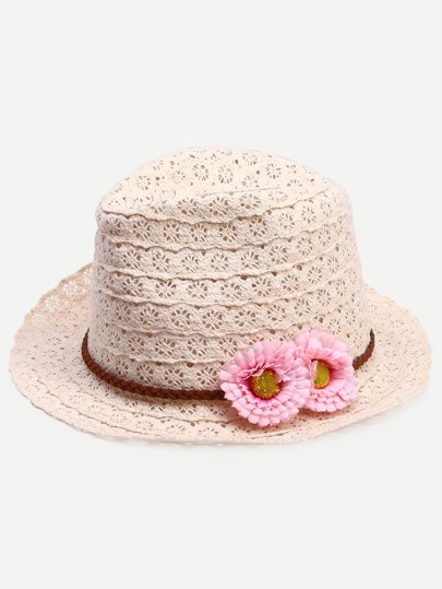 Beige Sweet Flower Bowler Hat