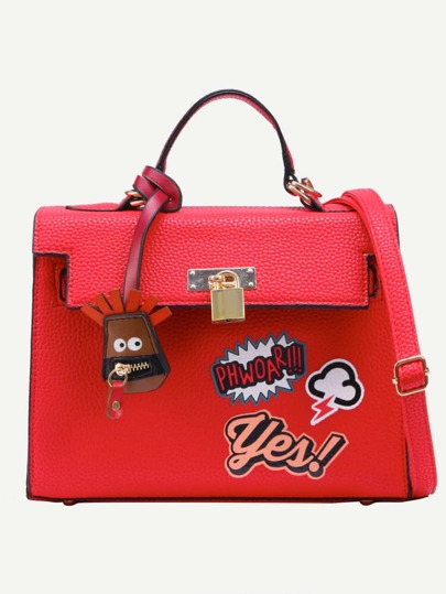 Red Pebbled Faux Leather Graffiti Print Satchel Bag
