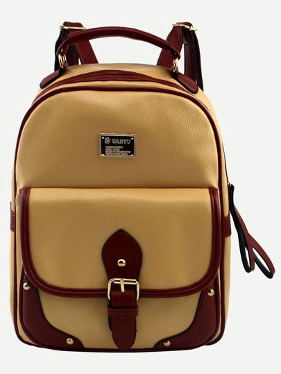 Yellow Contrast Trim Buckled Strap Backpack