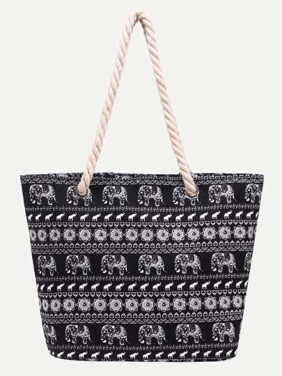 Black Elephant Print Canvas Tote Bag