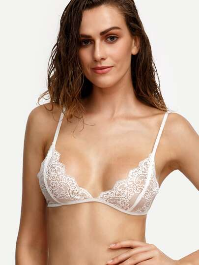 Scallop Trim Lace Triangle Bralet