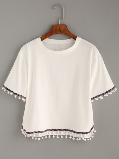 Embroidered Tape Pompom Trimmed T-shirt