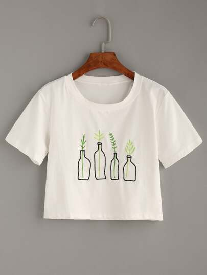 White Plant Embroidered T-Shirt