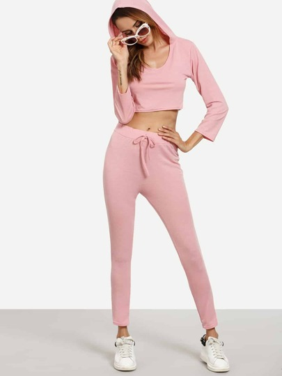 Pink Crop Hooded T-shirt With Drawstring Pants