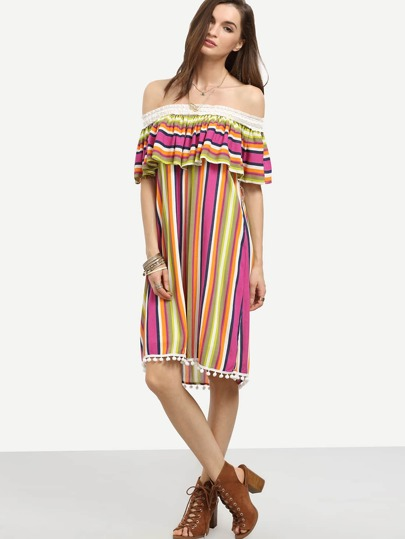 Multicolor Striped Off The Shoulder Ruffle Pom-pom Dress