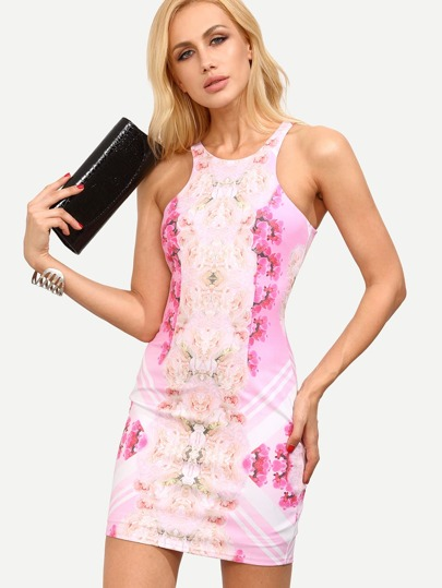 Multicolor Floral Cutaway Bodycon Dress