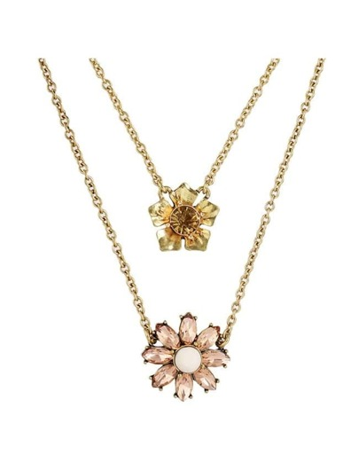 Flower Double Layers Pendant Necklace