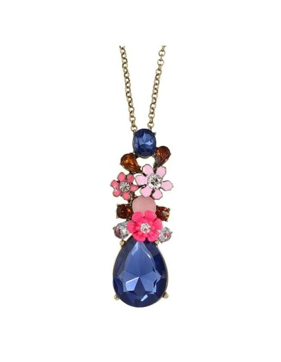 Rhinestone Flower Long Pendant Necklace