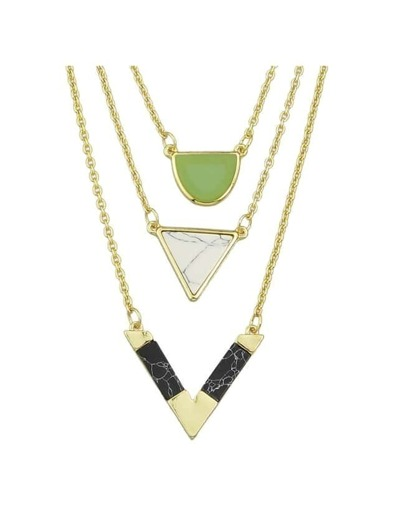 Three Layers Turquoise Triangle Necklace