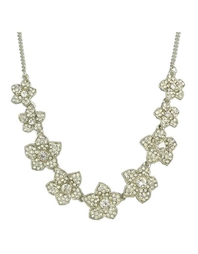 Silver Plated Rhinestone Flower Necklace