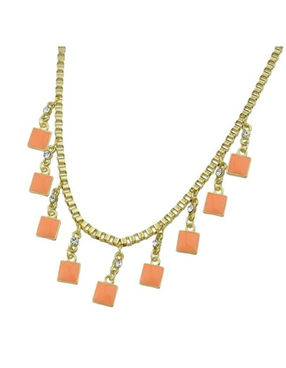 Gold Plated Chain Square Necklace