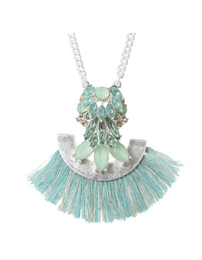 Green Rhinestone Tassel Long Necklace