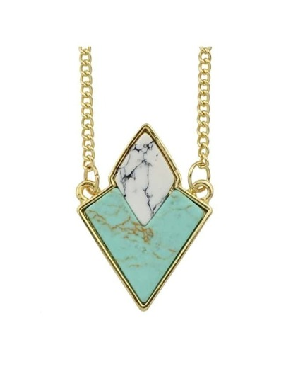 Green Turquoise Triangle Stone Necklace