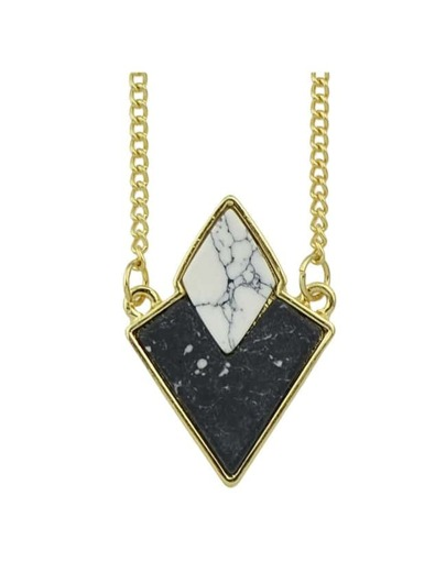 Black Turquoise Triangle Stone Necklace